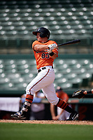 Baltimore Orioles right fielder Doran Turchin (83) hits an RBI single during a Florida Instructional League game against the Pittsburgh Pirates on September 22, 2018 at Ed Smith Stadium in Sarasota, Florida.  (Mike Janes/Four Seam Images)