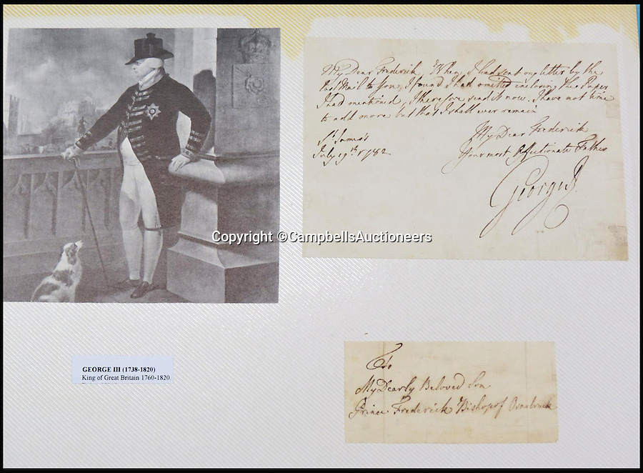 BNPS.co.uk (01202 558833)<br /> Pic: CampbellsAuctioneers/BNPS<br /> <br /> A signed letter from King George III to his son Prince Frederick, 1782.<br /> <br /> A magnificent collection of more than 1,000 signatures and letters from iconic historical figures including the Duke of Wellington, Picasso and Sir Winston Churchill have emerged for auction.<br /> <br /> The collection, which spans 300 years, was amassed by the late animal rights campaigner Jon Evans who meticulously framed or put the signatures in albums.<br /> <br /> Other famous figures in his collection include Charles Dickens, Sir Edmund Hilary, Mahatma Gandhi, Neil Armstrong, Lord Kitchener, Rudyard Kipling and Margaret Thatcher.<br /> <br /> The extensive array of documents is now expected to fetch £30,000 at Campbells Auctioneers tomorrow (Tues).