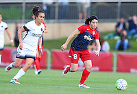 Boyds, MD - Saturday May 07, 2016: Washington Spirit forward Diana Matheson (8) moves away from Portland Thorns FC midfielder Meleana Shim (6) during a regular season National Women's Soccer League (NWSL) match at Maureen Hendricks Field, Maryland SoccerPlex. Washington Spirit tied the Portland Thorns 0-0.