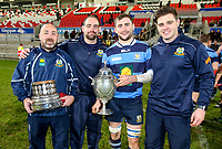Wednesday 2nd January 2019 | MMW Junior Cup Final 2019<br /> <br /> The winning Dromore Coaches Jeremy Ogle, Jonny Cullen and James Kirk with captain Adam McGregor with the  2019 MMW Ulster Junior Cup after the Final between Ballynahinch RFC and Dromore RFC at Kingspan Stadium, Ravenhill Park, Belfast, Northern Ireland. Photo by John Dickson / DICKSONDIGITAL