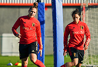 20200911 - TUBIZE , Belgium : Maud Coutereels and Lola Wajnblum pictured during the training session of the Belgian Women's National Team, Red Flames ahead of the Women's Euro Qualifier match against Switzerland, on the 28th of November 2020 at Proximus Basecamp. PHOTO: SEVIL OKTEM   SPORTPIX.BE