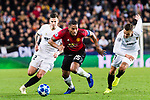 Antonio Valencia of Manchester United (C) fights for the ball with Denis Cheryshev of Valencia CF (R) during the UEFA Champions League 2018-19 match between Valencia CF and Manchester United at Estadio de Mestalla on December 12 2018 in Valencia, Spain. Photo by Maria Jose Segovia Carmona / Power Sport Images