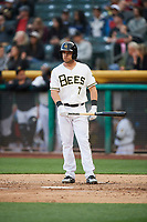 Ryan Schimpf (7) of the Salt Lake Bees bats against the Albuquerque Isotopes at Smith's Ballpark on April 5, 2018 in Salt Lake City, Utah. Salt Lake defeated Albuquerque 9-3. (Stephen Smith/Four Seam Images)