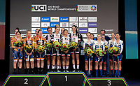 Picture by Simon Wilkinson/SWpix.com - 17/09/2017 - Cycling UCI 2017 Road World Championships Bergen Norway - TTT Team Time Trial Women/Femmes - Podium Team SUNWEB - winners 2nd BOELS DOLMANS 3rd CERVELO BIGLA