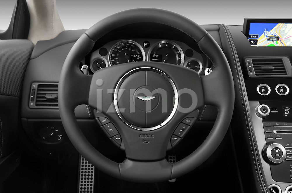 Steering wheel view of a 2012 Aston Martin Virage