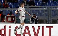Calcio, Serie A: Roma vs Milan. Roma, stadio Olimpico, 9 gennaio 2016.<br /> AC Milan's Juraj Kucka celebrates after scoring the equalizer goal during the Italian Serie A football match between Roma and Milan at Rome's Olympic stadium, 9 January 2016.<br /> UPDATE IMAGES PRESS/Riccardo De Luca