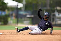 New York Yankees Marcos Cabrera (50) slides into second base during an Extended Spring Training game against the Philadelphia Phillies on June 22, 2021 at the Carpenter Complex in Clearwater, Florida. (Mike Janes/Four Seam Images)