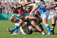 Maurie Fa'asavalu of Harlequins is tackled during the Aviva Premiership match between Harlequins and Bath Rugby at The Twickenham Stoop on Saturday 24th March 2012 (Photo by Rob Munro)