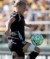 Carrie Dew gains control of the ball. Boston Breakers defeated FC Gold Pride 1-0 at Buck Shaw Stadium in Santa Clara, California on July 19, 2009.