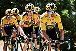 The peloton led by race leader Wout Van Aert (BEL) and Team Jumbo-Visma during Stage 2 of Criterium du Dauphine 2020, running 135km from Vienne to Col de Porte, France. 13th August 2020.<br /> Picture: ASO/Alex Broadway   Cyclefile<br /> All photos usage must carry mandatory copyright credit (© Cyclefile   ASO/Alex Broadway)