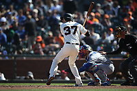 SAN FRANCISCO, CA - APRIL 29:  Kelby Tomlinson #37 of the San Francisco Giants bats against the Los Angeles Dodgers during the game at AT&T Park on Sunday, April 29, 2018 in San Francisco, California. (Photo by Brad Mangin)