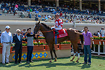 DEL MAR, CA  AUGUST 11: #1 Instagrand, ridden by  Drayden Van Dyke, in the winners circle after  winning the Best Pal Stakes (Grade ll) on August 11, 2018, at Del Mar Thoroughbred Club in Del Mar, CA. (Photo by Casey Phillips/Eclipse Sportswire/Getty Images