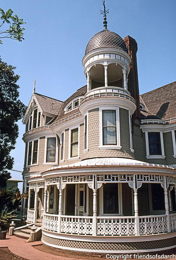 San Diego: Long Residence, 1889. Balcony, cupola.  (Photo '80)