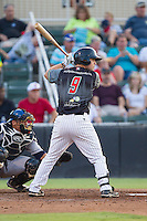Nolan Early (9) of the Kannapolis Intimidators at bat against the Asheville Tourists at CMC-NorthEast Stadium on July 12, 2014 in Kannapolis, North Carolina.  The Tourists defeated the Intimidators 7-5 in 15 innings.  (Brian Westerholt/Four Seam Images)