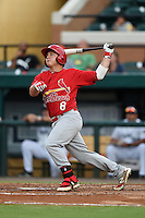 Palm Beach Cardinals designated hitter Mason Katz (8) at bat during a game against the Lakeland Flying Tigers on April 13, 2015 at Joker Marchant Stadium in Lakeland, Florida.  Palm Beach defeated Lakeland 4-0.  (Mike Janes/Four Seam Images)