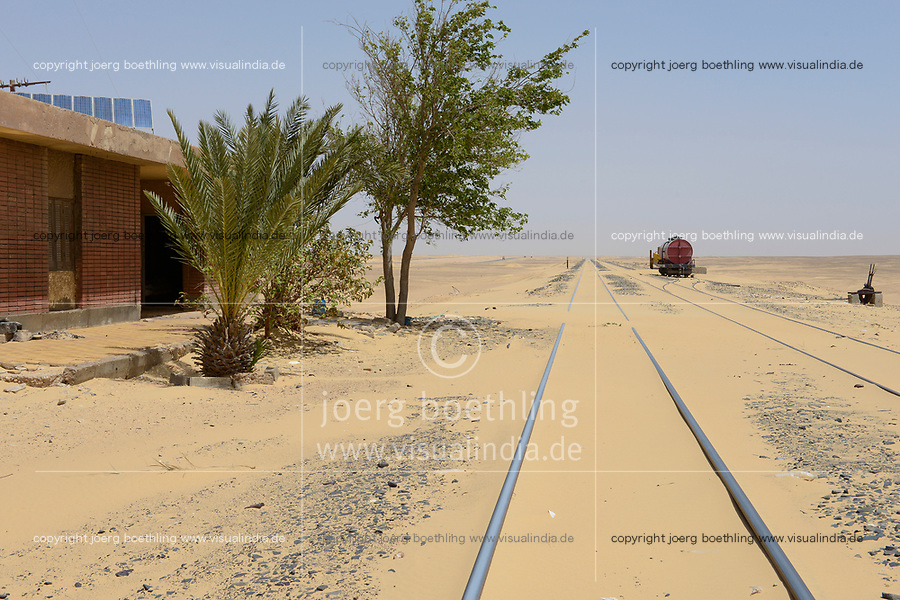 EGYPT, western desert, railway line Cairo to Bahariya Oasis, used for iron ore transport, railway station in the middle of nowhere