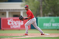 Boston Red Sox Danny Diaz (7) during a Florida Instructional League game against the Baltimore Orioles on October 8, 2018 at the Ed Smith Stadium in Sarasota, Florida.  (Mike Janes/Four Seam Images)