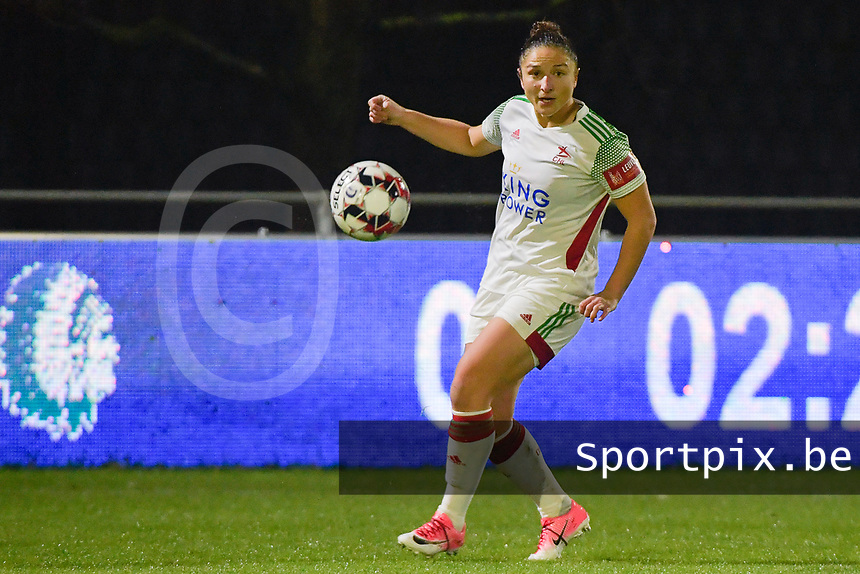 OHL's Sara Yuceil (13) pictured during a female soccer game between  AA Gent Ladies and Oud Heverlee Leuven on the 9th matchday of the 2020 - 2021 season of Belgian Scooore Womens Super League , friday 11 th of December 2020  in Oostakker , Belgium . PHOTO SPORTPIX.BE | SPP | DIRK VUYLSTEKE