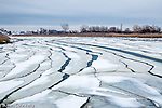 Ice floes on Belle Isle Inlet, Boston, Massachusetts, USA