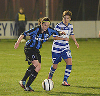 20140326 - AALTER , BELGIUM : Brugge's Lore Dezeure (l) pictured with Gent's Annelien Van Gansbeke (r) during the soccer match between the women teams of Club Brugge Vrouwen  and AA Gent  Ladies , on the 21th matchday of the BeNeleague competition Friday 14 March 2014 in Aalter. PHOTO DAVID CATRY