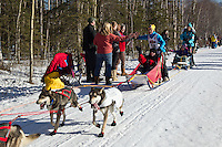 Marcelle Fressineau and team run past spectators on the bike/ski trail during the Anchorage ceremonial start during the 2014 Iditarod race.<br /> Photo by Britt Coon/IditarodPhotos.com