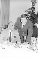 1969; Munich, Germany; Jesse Owens USA and Erhard Keller of Germany - Reception 1969 in Munich to kick off the Olympic advertising