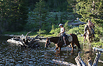 Horseback riders enjoy a ride into Scotts Lake near Hope Valley, in Alpine County, Ca., on Thursday, July 28, 2011..Photo by Cathleen Allison