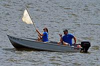 Team Dircksen raises the sail on their new tandem racing hull...   (Outboard Hydroplane)