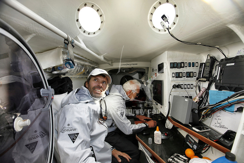 Onboard L'Hydroptère , Alain Thébault and his crew (Jacques Vincent, Yves Parlier, Jean Le Cam) sailing in San Francisco, California, USA.