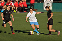 Portland, OR - Sunday March 11, 2018: Ashley Herndon, Stephanie McCaffrey, Kelli Hubly during a National Women's Soccer League (NWSL) pre season match between the Portland Thorns FC and the Chicago Red Stars at Merlo Field.