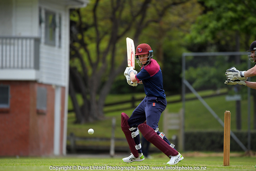 Action from the Hazlett Trophy Wellington premier men's division two cricket one-day match between Wellington Collegians and Eastern Suburbs at Anderson Park in Wellington, New Zealand on Saturday, 21 November 2020. Photo: Dave Lintott / lintottphoto.co.nz
