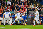 "Atletico de Madrid's player Saúl Ñígez and Malaga CF Federico Ricca Rostagnol and Juan Carlos ""Juankar"" Perez during a match of La Liga Santander at Vicente Calderon Stadium in Madrid. October 29, Spain. 2016. (ALTERPHOTOS/BorjaB.Hojas)"