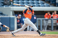 Bowling Green Hot Rods outfielder Beau Brundage (11) follows through on his swing against the West Michigan Whitecaps on May 21, 2019 at Fifth Third Ballpark in Grand Rapids, Michigan. The Whitecaps defeated the Hot Rods 4-3.  (Andrew Woolley/Four Seam Images)