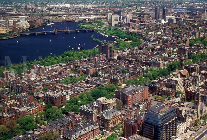 AJ4448, Boston, aerial, Massachusetts, Aerial of Charles River and downtown Boston looking northeast from Prudential Tower Skywalk in the state of Massachusetts.