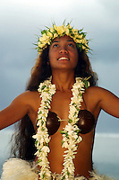 Polynesian dancer (MR) pictured here on one of Rarotonga's many beaches. The Cook Islands.