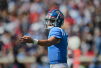Ole Miss quarterback Matt Corral (2) gestures, Saturday, October 9, 2021 during the second quarter of a football game at Vaught Hemingway Stadium in Oxford, Miss. Check out nwaonline.com/211010Daily/ for today's photo gallery. <br /> (NWA Democrat-Gazette/Charlie Kaijo)