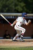 Michael Turconi (4) (Wake Forest) of the High Point-Thomasville HiToms follows through on his swing against the Statesville Owls at Finch Field on July 19, 2020 in Thomasville, NC. The HiToms defeated the Owls 21-0. (Brian Westerholt/Four Seam Images)
