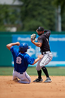 Jupiter Hammerheads second baseman Riley Mahan (2) turns a double play as Cal Stevenson (8) slides in during a Florida State League game against the Dunedin Blue Jays on May 16, 2019 at Jack Russell Memorial Stadium in Clearwater, Florida.  Dunedin defeated Jupiter 1-0.  (Mike Janes/Four Seam Images)