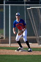 Nicholas Kumor during the Under Armour All-America Pre-Season Tournament, powered by Baseball Factory, on January 19, 2019 at Fitch Park in Mesa, Arizona.  Nicholas Kumor is a third baseman from Uniontown, Pennsylvania who attends Laurel Highlands High School.  (Mike Janes/Four Seam Images)