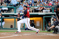 First baseman Freddie Freeman (5) of the Atlanta Braves bats in a Spring Training game against the New York Yankees on Wednesday, March 18, 2015, at Champion Stadium at the ESPN Wide World of Sports Complex in Lake Buena Vista, Florida. The Yankees catcher is Brian McCann. The Yankees won, 12-5. (Tom Priddy/Four Seam Images)