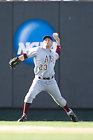 Arizona State Sun Devil outfielder Johnny Ruttiger #23 throws the ball into the infield against the Texas Longhorns in NCAA Tournament Super Regional baseball on June 10, 2011 at Disch Falk Field in Austin, Texas. (Photo by Andrew Woolley / Four Seam Images)