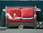 The player's famed couch at the Family Circle Cup in Charleston, South Carolina on April 4, 2014.