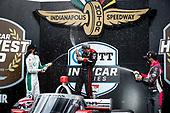 #12: Will Power, Team Penske Chevrolet, podium, champagne, #88: Colton Herta, Andretti Harding Steinbrenner Autosport Honda, #27: Alexander Rossi, Andretti Autosport Honda