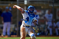 South Dakota State Jackrabbits catcher Derek Hackman (9) throws to first base during a game against the FIU Panthers on February 23, 2019 at North Charlotte Regional Park in Port Charlotte, Florida.  South Dakota State defeated FIU 4-3.  (Mike Janes/Four Seam Images)