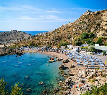 Griechenland, Dodekanes, Rhodos, bei Ladiko: Anthony-Quinn-Bucht ist heute der gebraeuchliche Name für die Vagies-Bucht an der Ostkueste   Greece, Dodekanes, Rhodes, near bei Ladiko: Anthony-Quinn-Bay (Vagies Bay) on the East coast
