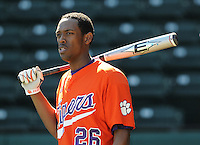 Outfielder Chris Epps (26) of the Clemson Tigers prior to a game against the Michigan State Spartans Saturday, Feb. 20, 2010, at Fluor Field at the West End in Greenville, S.C. Photo by: Tom Priddy/Four Seam Images
