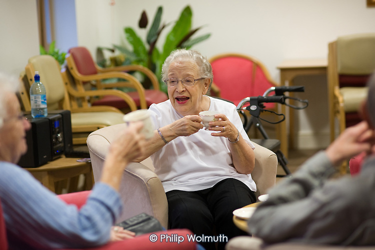 Residents chat over a cup of tea at Esk Moors Lodge, Castleton, North Yorkshire, a sheltered housing scheme and 'extra care' centre run by Esk Moors Caring.