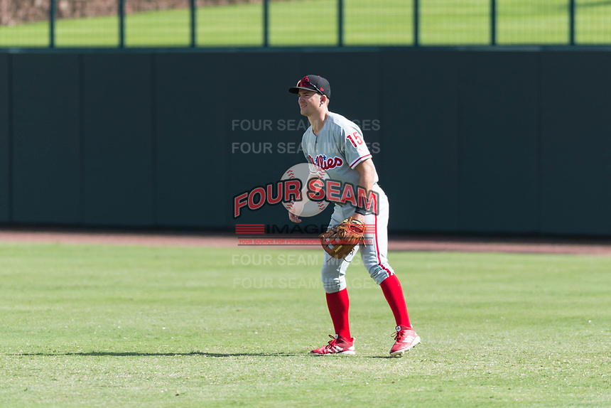 Scottsdale Scorpions right fielder Luke Williams (15), of the Philadelphia Phillies organization, during an Arizona Fall League game against the Glendale Desert Dogs at Camelback Ranch on October 16, 2018 in Glendale, Arizona. Scottsdale defeated Glendale 6-1. (Zachary Lucy/Four Seam Images)