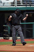 Home plate umpire Ken Langford makes a strike call during the SEC baseball game between the LSU Tigers and the Georgia Bulldogs at Foley Field on March 23, 2019 in Athens, Georgia. The Bulldogs defeated the Tigers 2-0. (Brian Westerholt/Four Seam Images)