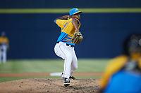Rapidos de Kannapolis relief pitcher Sammy Peralta (18) in action against the Guerreros de Fayetteville at Atrium Health Ballpark on June 24, 2021 in Kannapolis, North Carolina. (Brian Westerholt/Four Seam Images)
